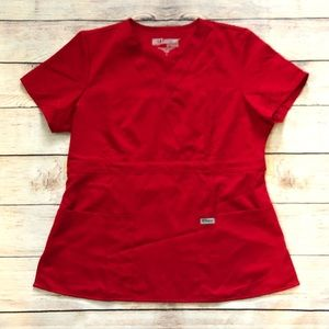 Grey's Anatomy Mock Wrap Red Scrub Top Sz Large
